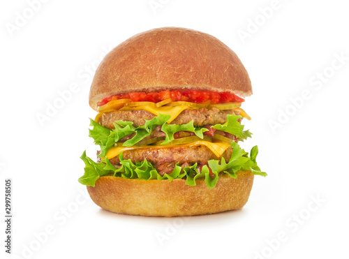 Double burger with lettuce, tomato, onion, and melted cheese on white background