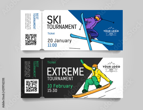 Admission tickets for extreme winter sports tournament or competition invitation Canvas Print