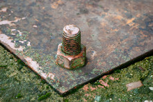 Large Rusty Bolt And Nut With....