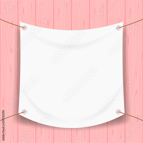 Pinturas sobre lienzo  vinyl banner blank white isolated on pink pastel wood frame, mock up textile fab