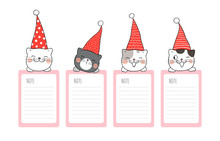Draw Paper Note With Cat For Christmas And New Year.