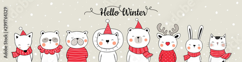 Draw banner web design cute animal in snow for Christmas.