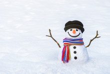 Funny Winter Card With A Smiling Snowman