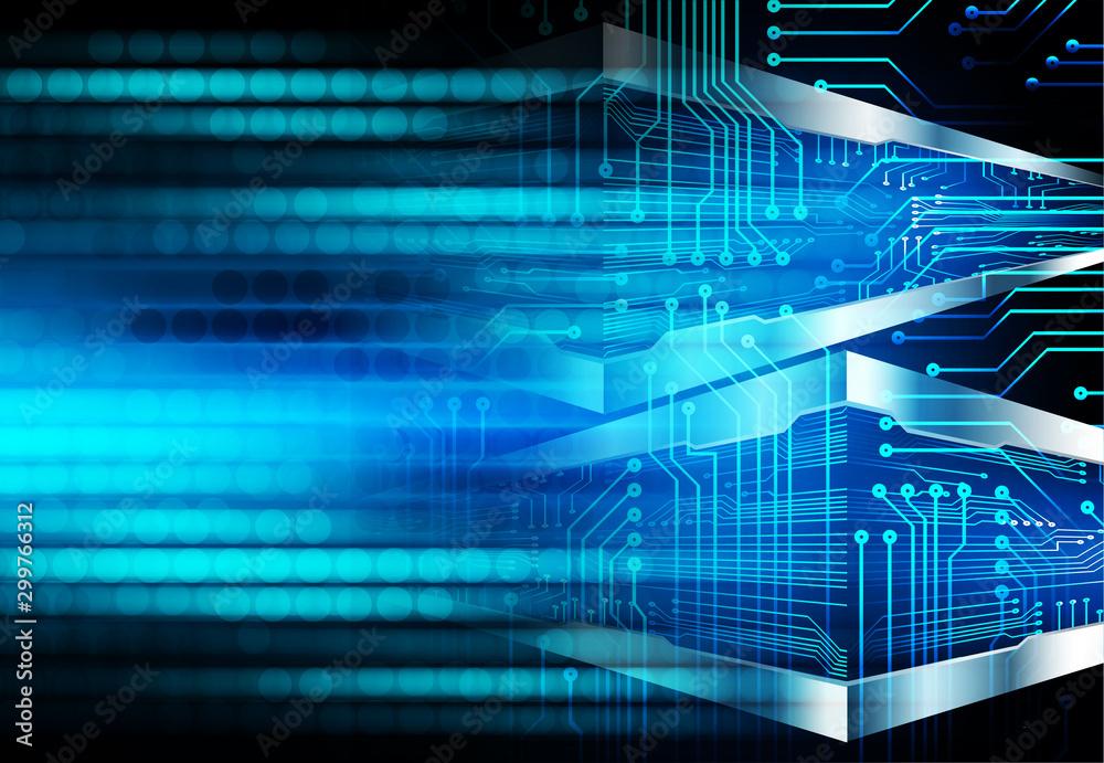Fototapeta binary circuit board future technology, blue eye cyber security concept background, abstract hi speed digital