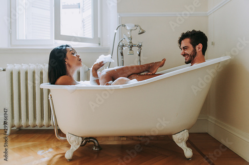 Canvas Print Couple in love spending time together in the house