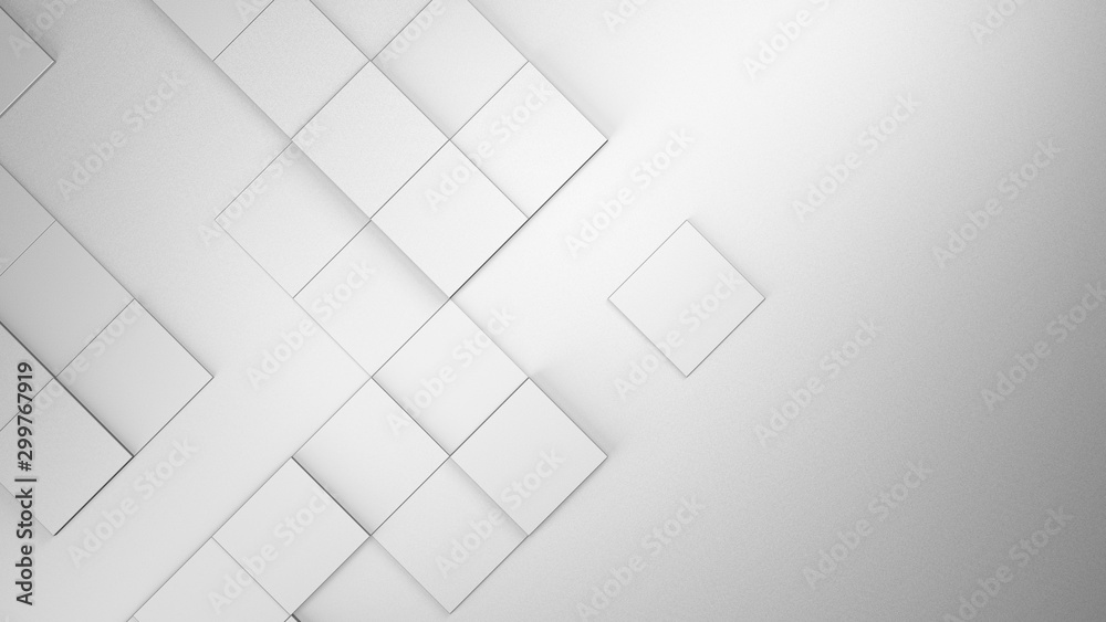 White blank geometric cubes abstract background. 3d illustration, 3d rendering.