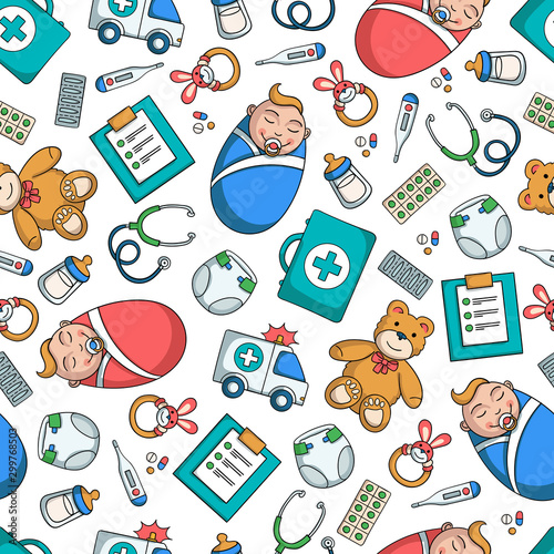 fototapeta na lodówkę Vector seamless pattern on the theme of pediatrics and children's health on white background. Colored pattern wirh symbols of medicine