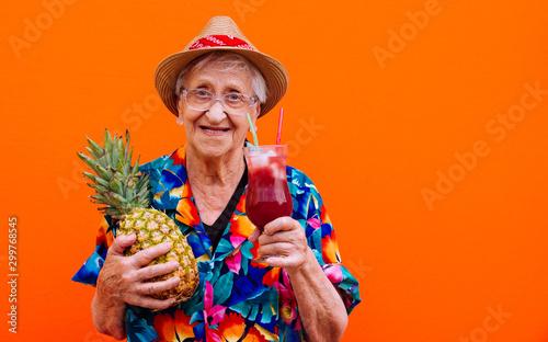 Obraz Grandmother portraits on colored backgrounds - fototapety do salonu
