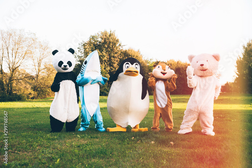 Group of animals mascots doing party Canvas Print