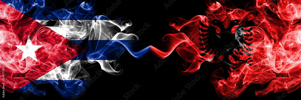Fototapety, obrazy: Cuba, Cuban vs Albania, Albanian smoky mystic flags placed side by side. Thick colored silky travel abstract smokes banners.