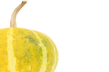Single Yellow Gourd On White Background With Copyspace