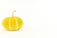 Single Yellow Gourd Set To The Side Displayed On White Background With Copyspace