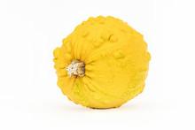 Single Yellow Gourd On White B...
