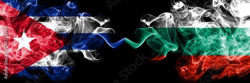 Photo Cuba, Cuban vs Bulgaria, Bulgarian smoky mystic flags placed side by side