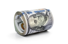 Rolled Up Dollar Bills On White.