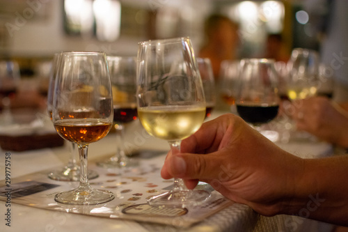 Sherry wine tasting, selection of different jerez fortified wines from dry to very sweet in glasses, Jerez de la Frontera, Andalusia, Spain