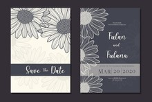 Wedding Invitation Card With Abstract Doodle Hand Drawn Daisy Flower Floral Sketch Ornament Background Template Mockup Decoration Vector Illustration
