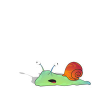Cartoon Green Snail With Big Eyes. Isolated On A White Background. Vector Illustration