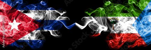 Fotografía  Cuba, Cuban vs Equatorial Guinea smoky mystic flags placed side by side