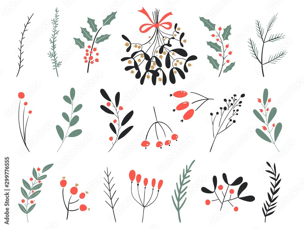 Fototapeta Hand drawn vector winter elements. Christmas floral. Christmas branches. Perfect for invitations, greeting cards, posters, prints. Winter branches and leaves. Design objects.
