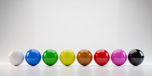 Colorful Billiards Balls On White Background With Standard Eight Colors. 3D Render Of Snooker Pool Balls Object.