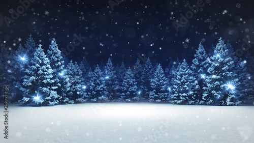Obraz Snow covered winter forest under stormy snowfall and dark sky, seasonal 3D illustration and copy space background - fototapety do salonu
