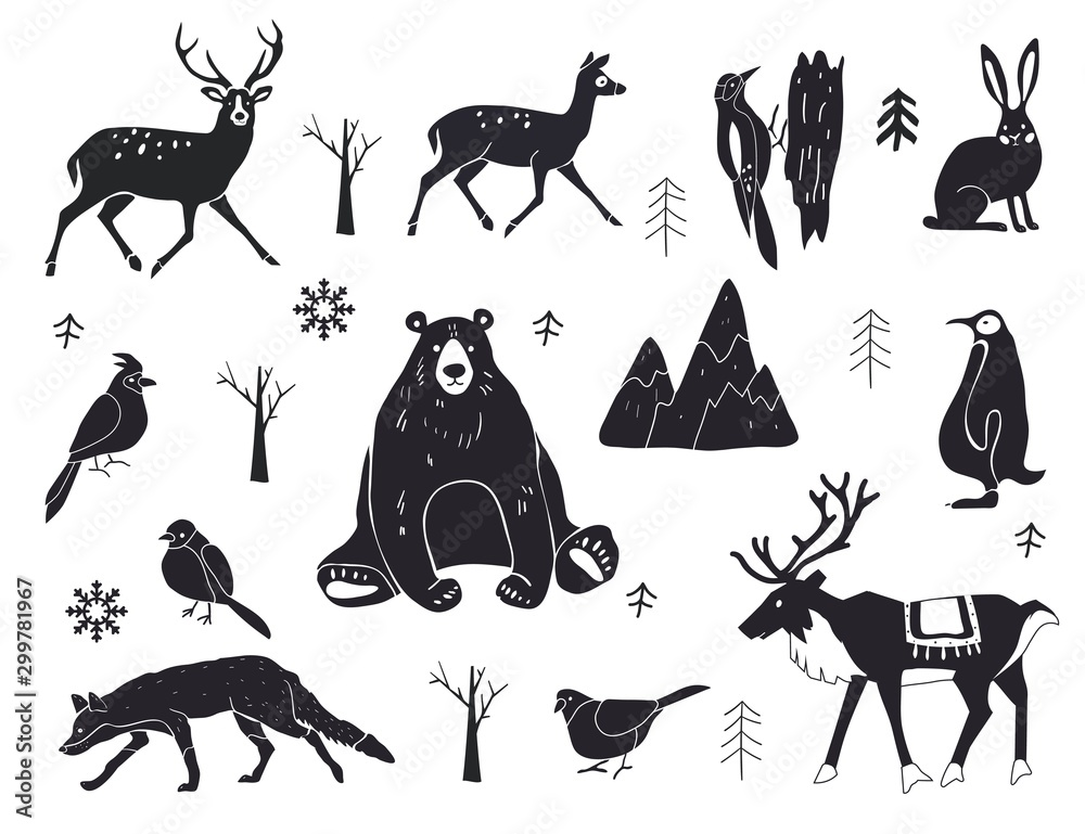 Fototapeta Vector set of northern animals silhouettes. Set of winter animals. Merry Christmas and New year. Design element poster, banner, invitation, congratulations, postcards.
