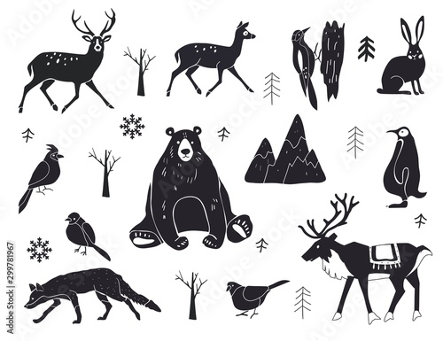 fototapeta na drzwi i meble Vector set of northern animals silhouettes. Set of winter animals. Merry Christmas and New year. Design element poster, banner, invitation, congratulations, postcards.
