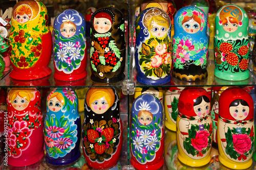 Fotografia, Obraz Dolls - wooden Russian matryoshk, Nesting souvenirs.