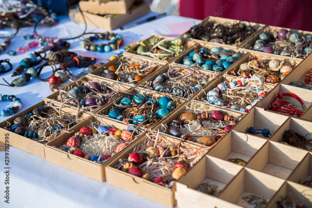 Handmade jewelry and accessories at souvenir market