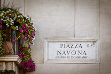 Piazza Navona  Sign With Color...