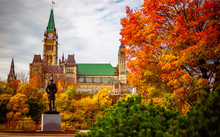 Public Statue Facing Parliament Hill In The Fall In Ottawa, Ontario