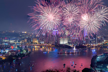 View Of Fireworks At Night