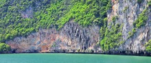 Island, Ocean Views Near Phuket Thailand With Blues, Turquoise And Greens Oceans, Mountains, Boats, Caves, Trees Resort Island Of Phuket Thailand. Including Phi Phi, Ko Rang Yai, Ko Li Pe And Other Is