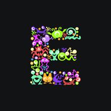 Monster Font. Letter E Made Of...