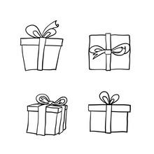 Doodle Gift Illustration Handdrawn Cartoon Style Vector