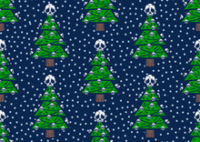 Seamless Pattern Christmas Tree With Skulls