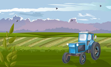 Blue Tractor In The Green Fiel...