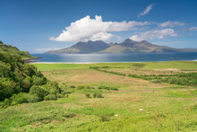 Laig Bay, Cleadale And Distant Isle Of Rum In Mid-summer, Small Isles, Inner Hebrides, Scotland