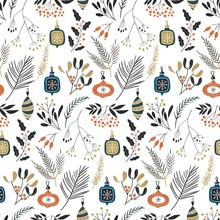 Floral Winter Illustration. Hand Drawn Seamless Christmas Pattern With Green Spruce Branches, Mistletoe And Berries.
