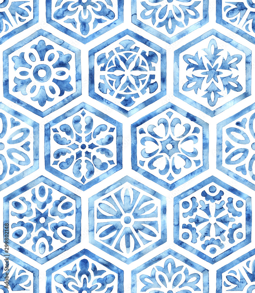 Fototapeta White and blue watercolor seamless pattern. Hexagonal tile drawn with a brush on paper. Print for textiles.