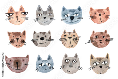 Set of muzzles of cats drawn by hand. Animal cartoon pattern for wrapping paper, textiles, posters, scrapbooking. Funny children's illustration.