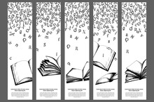 Bookmarks Templates With Letters And Books. Sketch Artwork On White Background