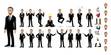 Businessman Cartoon Character Set. Handsome Business Man In Office Style Smart Suit . Vector Illustration
