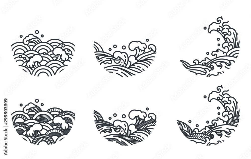 Fototapety, obrazy: Oriental and tradition line stroke water wave shape. And shade with stripe line. Japanese, Thai, Chinese style. Decorative abstract arts design.