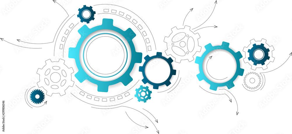 Fototapeta Connected cogwheels / gears icons - development, planning, technology concept, vector illustration