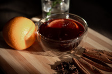 Mulled Wine On A Wooden Tray W...