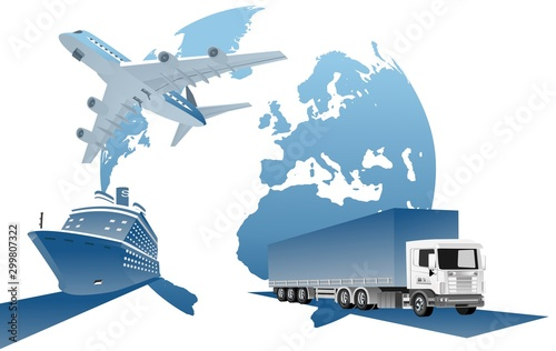 Fotografia, Obraz  Global logistics network  3d vector illustration Set of air cargo trucking,   de