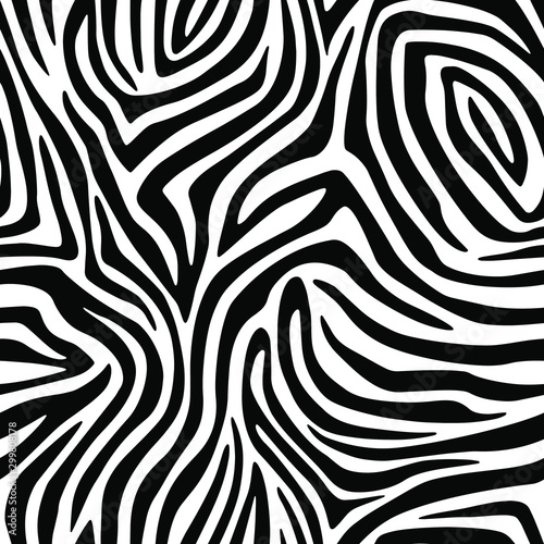 plakat Full seamless wallpaper for zebra and tiger stripes animal skin pattern. Black and white design for textile fabric printing. Fashionable and home design fit.