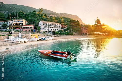 Montage in der Fensternische Südeuropa Paleokastritsa beach during sunrise, Corfu, Greece